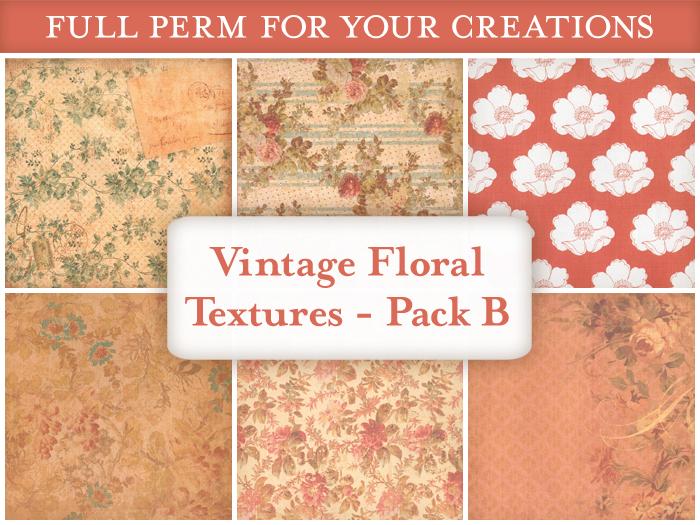 [croire textures] Vintage Floral Textures (PACK A) (set of 6 vintage antique floral textures)