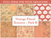 Vintage floral patterns textures second life texture set full perm antique flowers red