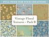 Vintage floral patterns textures second life texture set full perm antique flowers blue