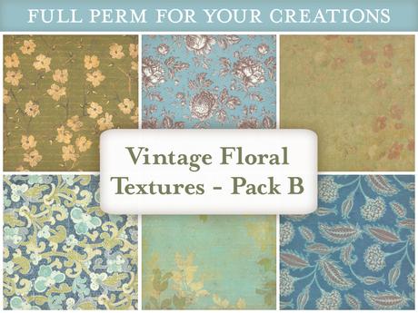 [croire textures] Vintage Floral Textures (PACK B) (set of 6 vintage antique floral textures)