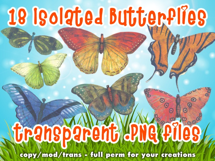 [croire textures] Isolated Transparent Butterfly PNGs (18 butterfly textures)