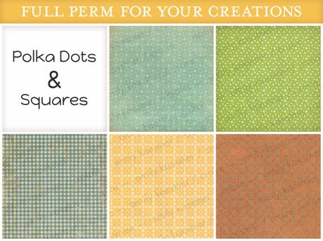 [croire textures] Polka Dots & Square Textures Set (5 assorted full perm textures)