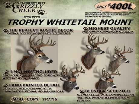 Grizzly Creek Sculpted Trophy Whitetail Deer Shoulder Mount