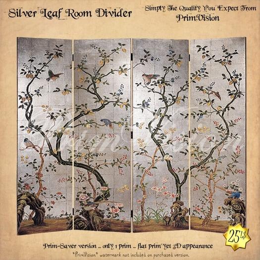 *PV* Silver Leaf Folding Screen