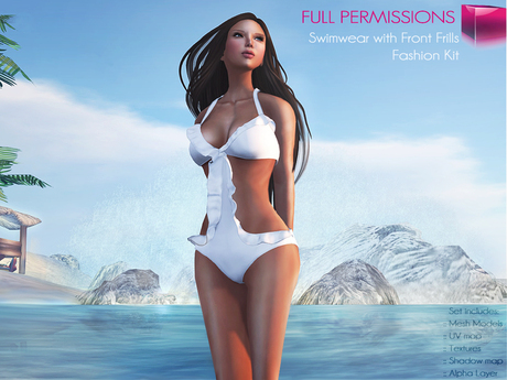 CLASSIC RIGGED MESH Women's Halter Strap Side Cut Out Swimsuit with Front Frills V.1 - 6 TEXTURES