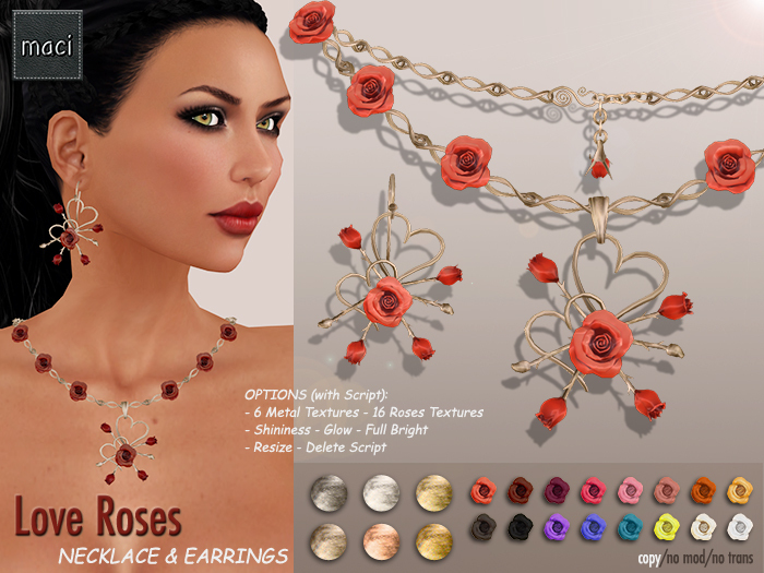 !! maci ~ Love Roses Necklace & Earrings
