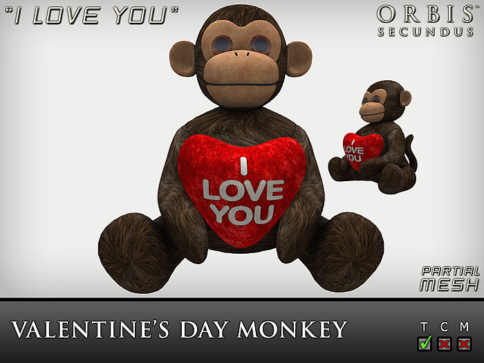 Valentine's Day Monkey - I Love You