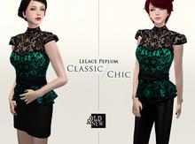 (O&N) LeLace Peplum in Emerald