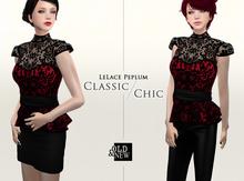 (O&N) LeLace Peplum in Romantic Red