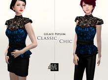 (O&N) LeLace Peplum in Sapphire Blue