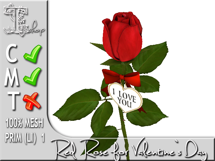 Red Rose for Valentine`s Day MC 100% original mesh