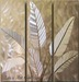 Tropical Leaves - Cream colored 3 panel art.