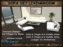 Sofa Set white Living Room modern - Texturechanger for Pillows - Sofa Corner, Sofa, Lounger & Decoration