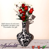 1 PRIM Aphrodite fancy vase Musical with Red roses bouquet TRANSFER- MESH only 1 prim