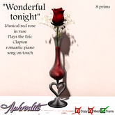 "Aphrodite ""Wonderful tonight"" musical rose in vase  TRANSFER"