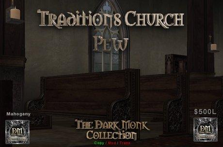 DM Traditions - Church pew set - Mahogany