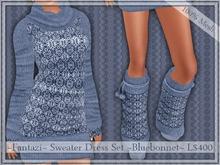 ~Permanent Freebie~My Best Seller~Mesh Sweater Dress Set ~Bluebonnet~