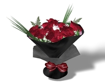 black wrapped red rose bouquet mesh