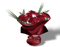 Mothers Day Red Rose Bouquet with Red Stripe Gift Wrap Mesh