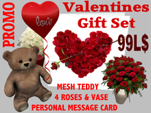 PROMO - DELUXE VALENTINES DAY GIFT SET with personal message greeting card, roses and teddy bear