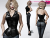 RIGGED MESH Women's Sexy Sleeveless V-Neck Halter Strap Leather Vest Corset - 2 TEXTURES Black Red