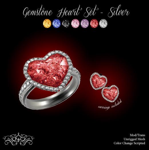 P.C; Gemstone Heart Set - Silver