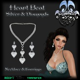 [FPI] Heart Beat Silver & Diamonds - Lovely Heart Necklace and Earrings Set, A Great Gift!