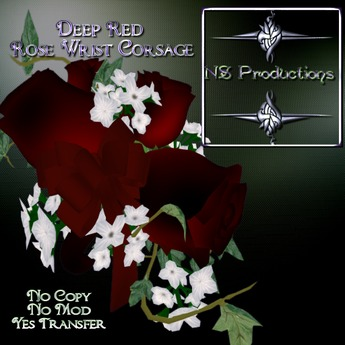 NSP Deep Red Rose Wrist Corsage