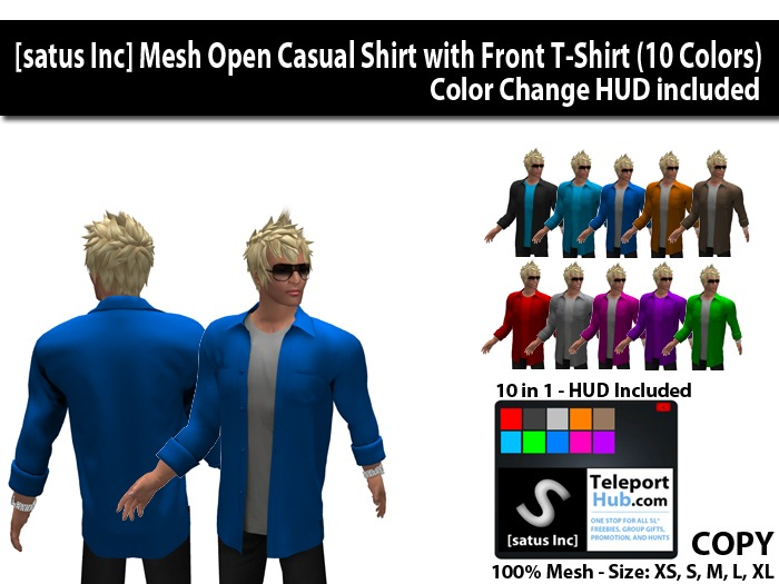 [satus Inc] Mesh Open Casual Shirt with T-Shirt (10 Colors)