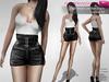 FULL PERM CLASSIC RIGGED MESH Women's Female Ladies High Waist Mini Black Shorts with Buckles