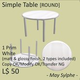 - May Sylphe - Simple Table ROUND White glossy