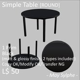 - May Sylphe - Simple Table ROUND Black glossy