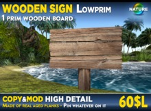 Wooden sign MOD COPY MESH board sign post made of aged planks