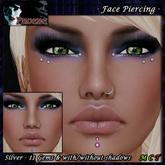*P* Unisex Face Piercing Q6 ~Silver/11 Gems~