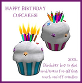 RezDay and Birthday Cupcakes, Birthday Boy & Girl w/candles