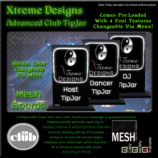 Xtreme Club TipJar - Mesh Boards