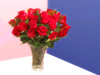 Red Roses in Vase - ideal Valentine gift for Valentine's day