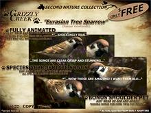 Grizzly Creek FREE Songbird Eurasian TreeSparrow -Rez or Wear-
