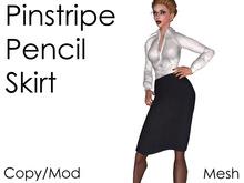 Pinstripe Pencil Skirt (mesh) Secretary