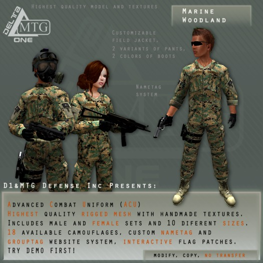 D1&MTG - ACU- Uniform - Marine Woodland