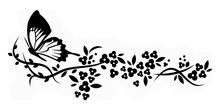 Butterfly Flower Vines Wall Decal
