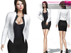 CLASSIC RIGGED MESH Women's Female Ladies Open Front Long Sleeve Blazer Jacket - 2 TEXTURES Black White