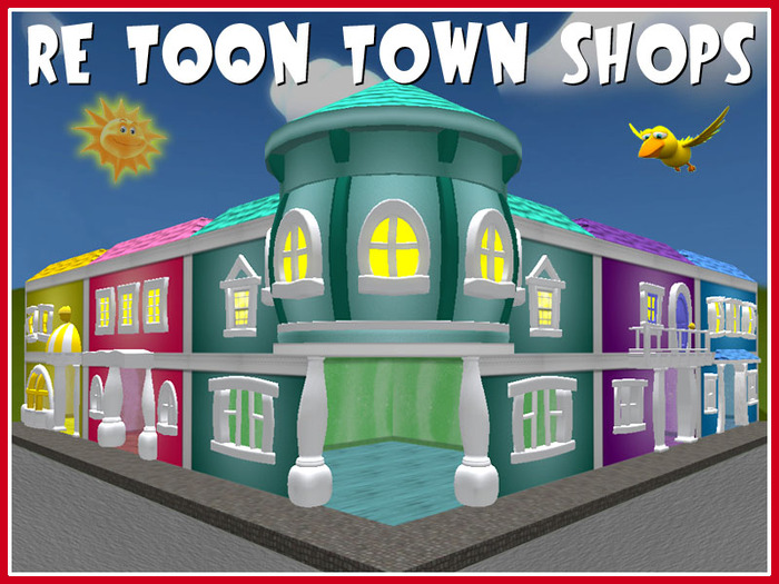 Second Life Marketplace Re Toon Town Shops Set Fun Cartoon Playground Stores