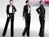 FULL PERM CLASSIC RIGGED MESH Women's Female Ladies Black Pants Shirt & Jacket Tuxedo Suit Outfit Set