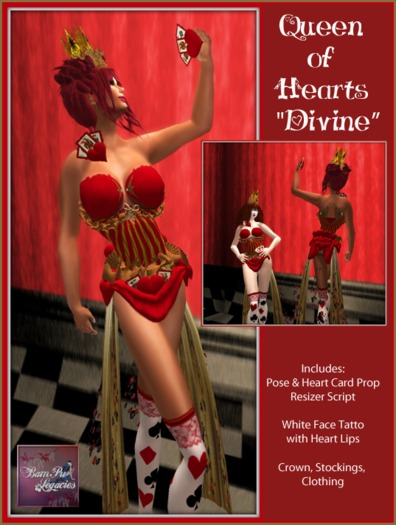 "Queen Of Hearts ""Divine"" Dress Ensemble & Pose w/Resizer /c"