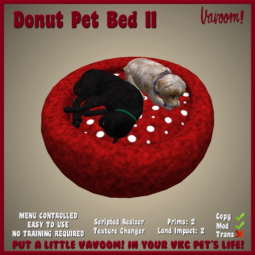 Donut Pet Bed II by Vavoom! - Supplies for Virtual Kennel Club (VKC®) Pets - No Training Required - Dog Bed - Cat Bed