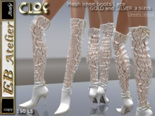 EB Shoes-CLOE White Lace mesh knee boots- italian designer