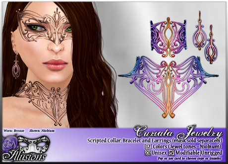 *~*Illusions*~* Curiata Jewelry Set: Collar, Bracelets and Earrings