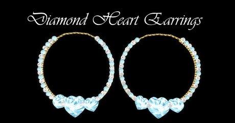 Blue Diamond Heart Earrings