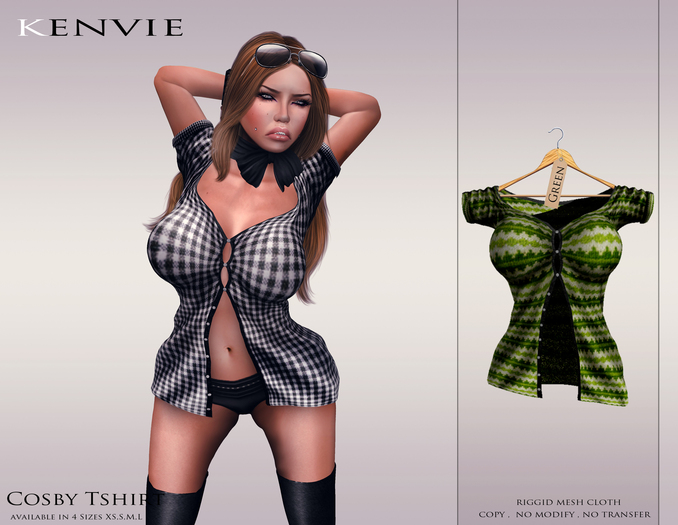 KENVIE . mesh Cosby Shirt Green